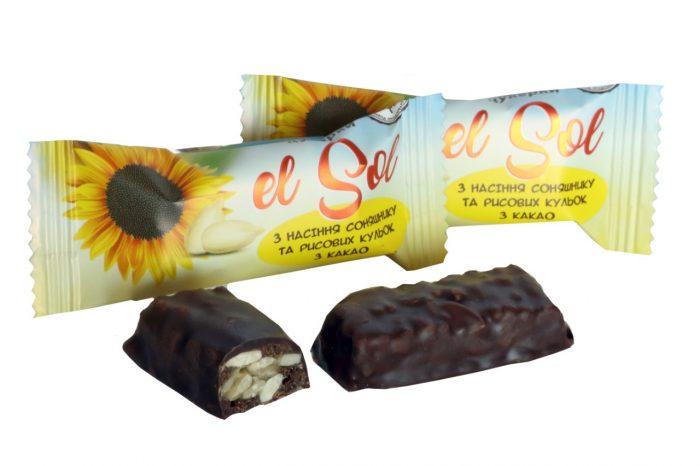 Конфеты «El Sol» с семенами подсолнуха и рисовых шариков с какао