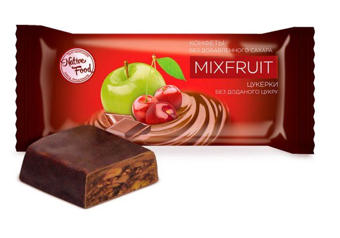 Конфеты «MIXFRUIT» из яблока и вишни без добавления сахара